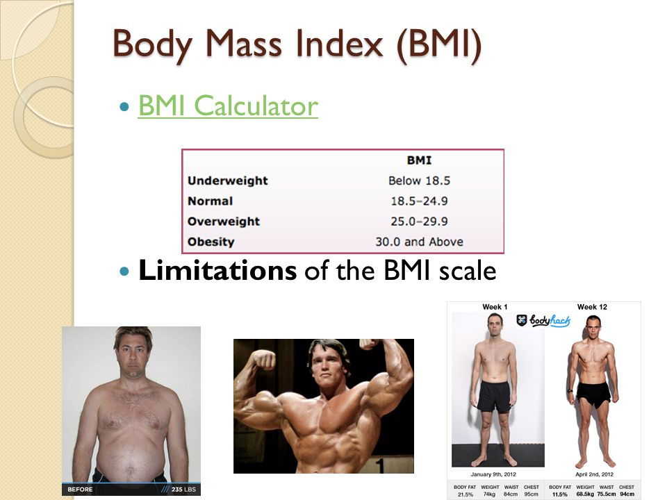 Body Mass Index (BMI) BMI Calculator Limitations of the BMI scale