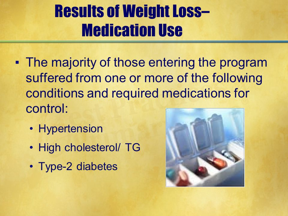 Results of Weight Loss– Medication Use ▪The majority of those entering the program suffered from one or more of the following conditions and required medications for control: Hypertension High cholesterol/ TG Type-2 diabetes