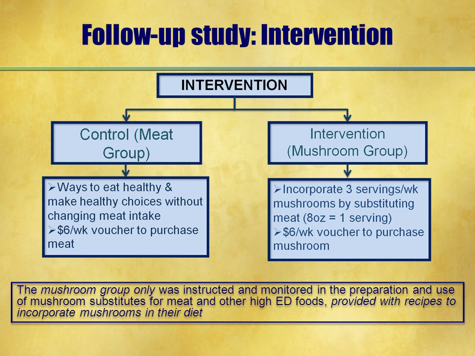 Follow-up study: Intervention The mushroom group only was instructed and monitored in the preparation and use of mushroom substitutes for meat and other high ED foods, provided with recipes to incorporate mushrooms in their diet