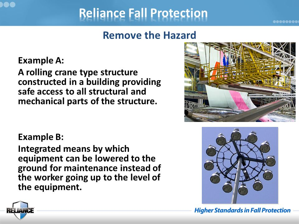 Remove the Hazard Example A: A rolling crane type structure constructed in a building providing safe access to all structural and mechanical parts of