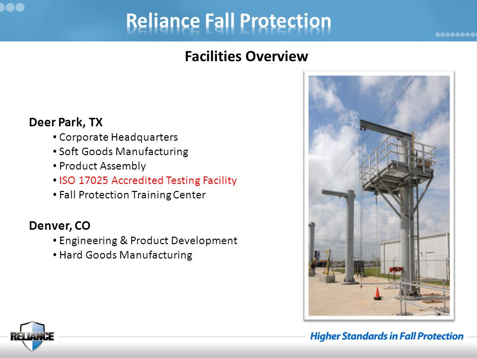 Reliance offers Fall Protection Equipment in the following categories : Full Body Harnesses Snaphooks and Carabiners Shock Absorbing Lanyards Positioning Devices Self Retracting Lifelines Vertical Systems Anchorage Devices Confined Space & Rescue Guardrail Systems Overhead Rail Systems And our specialty : Horizontal Lifeline Systems The Reliance catalog features the following informational tools : ABCD's for Equipment Selection Fall Clearance Calculations Equipment Inspection Criteria How to Don a Harness Applicable OSHA and ANSI Standard Information The Catalog can also serve as a desk reference for : Equipment Selection Applicable Standards Fall Protection Technology In Summary