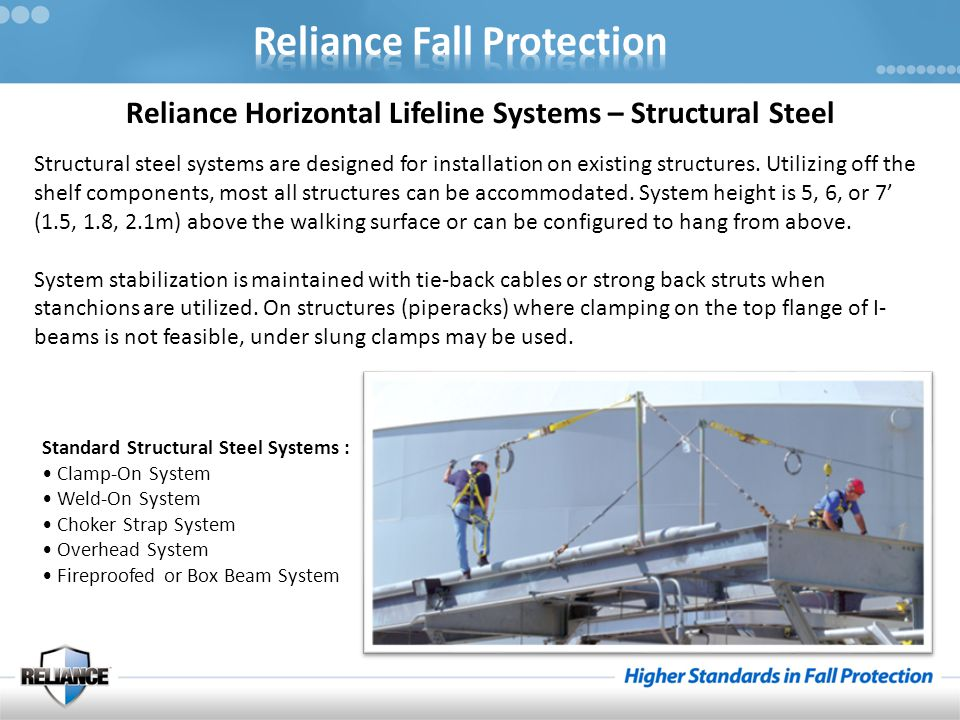 Reliance Horizontal Lifeline Systems – Structural Steel Structural steel systems are designed for installation on existing structures. Utilizing off t