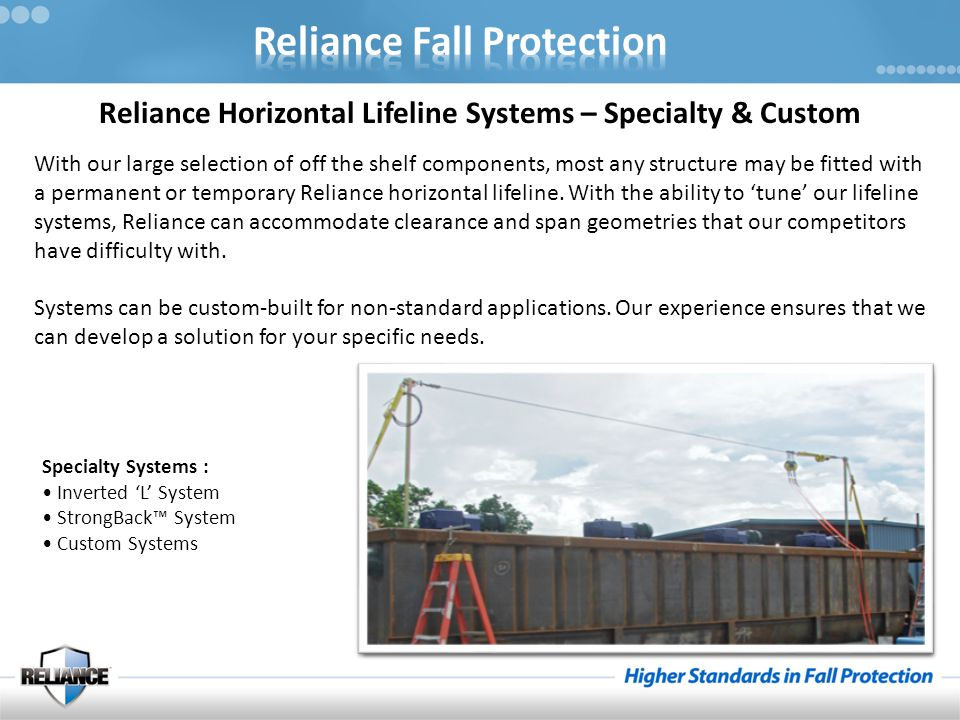 Reliance Horizontal Lifeline Systems – Specialty & Custom With our large selection of off the shelf components, most any structure may be fitted with