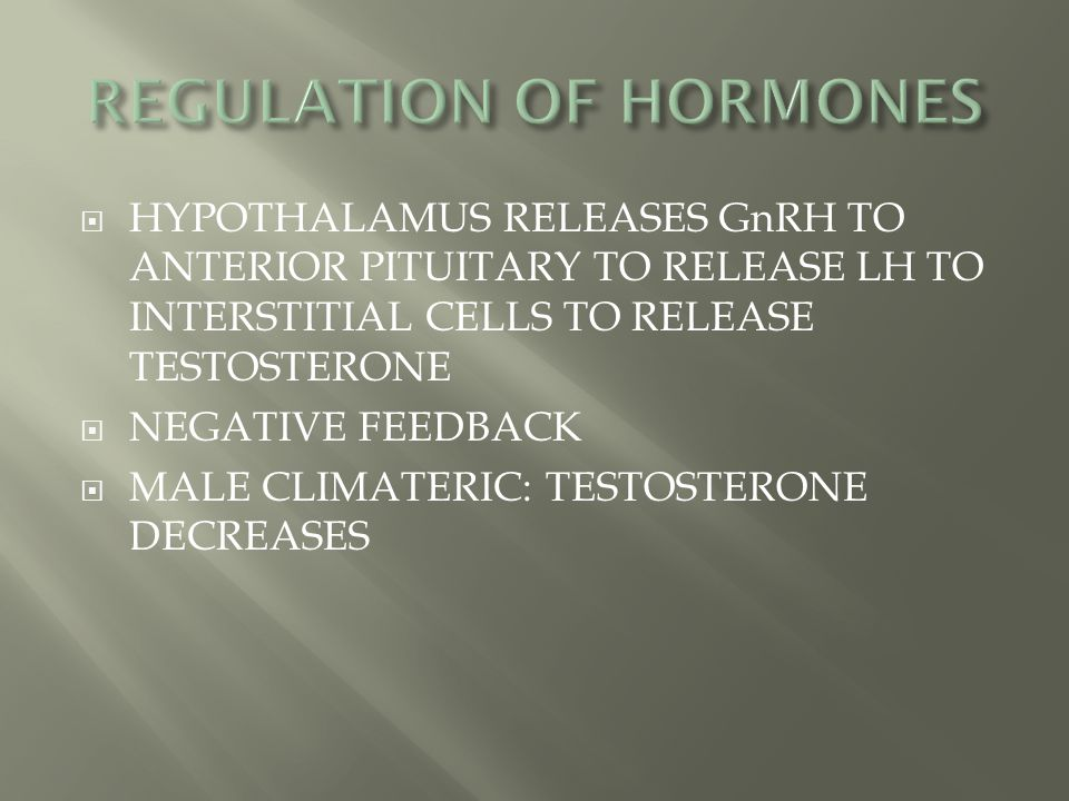  HYPOTHALAMUS RELEASES GnRH TO ANTERIOR PITUITARY TO RELEASE LH TO INTERSTITIAL CELLS TO RELEASE TESTOSTERONE  NEGATIVE FEEDBACK  MALE CLIMATERIC: