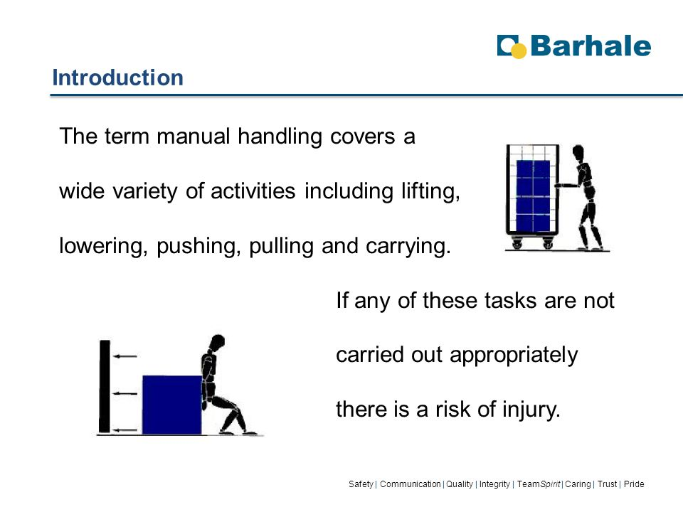 Introduction Safety | Communication | Quality | Integrity | TeamSpirit | Caring | Trust | Pride The term manual handling covers a wide variety of activities including lifting, lowering, pushing, pulling and carrying.