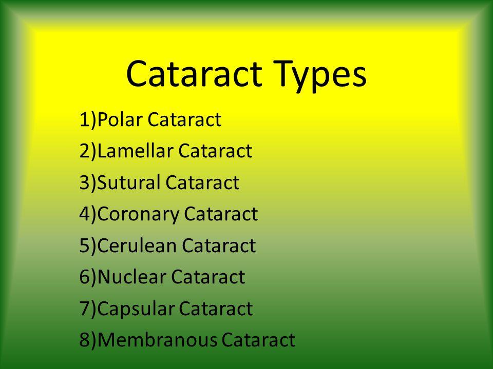 Cataract Types 1)Polar Cataract 2)Lamellar Cataract 3)Sutural Cataract 4)Coronary Cataract 5)Cerulean Cataract 6)Nuclear Cataract 7)Capsular Cataract 8)Membranous Cataract