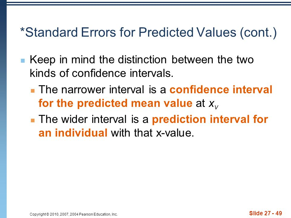 Copyright © 2010, 2007, 2004 Pearson Education, Inc. Slide 27 - 49 *Standard Errors for Predicted Values (cont.) Keep in mind the distinction between