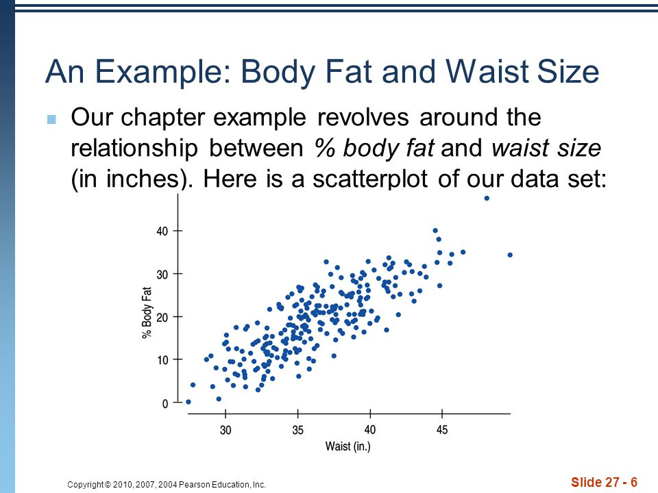 Copyright © 2010, 2007, 2004 Pearson Education, Inc. Slide 27 - 6 An Example: Body Fat and Waist Size Our chapter example revolves around the relation