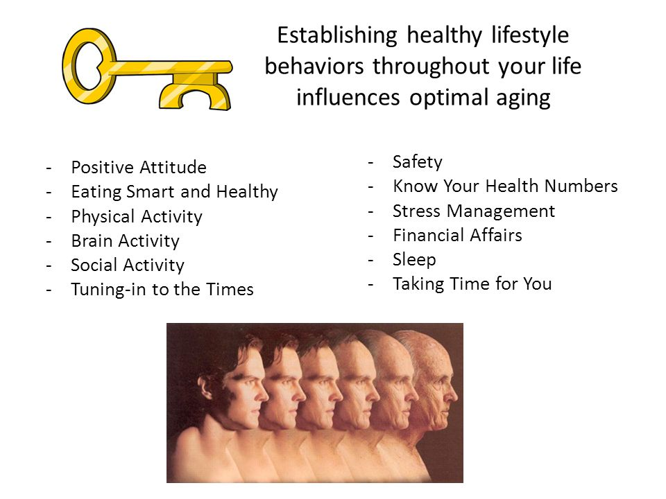 Establishing healthy lifestyle behaviors throughout your life influences optimal aging -Positive Attitude -Eating Smart and Healthy -Physical Activity -Brain Activity -Social Activity -Tuning-in to the Times -Safety -Know Your Health Numbers -Stress Management -Financial Affairs -Sleep -Taking Time for You