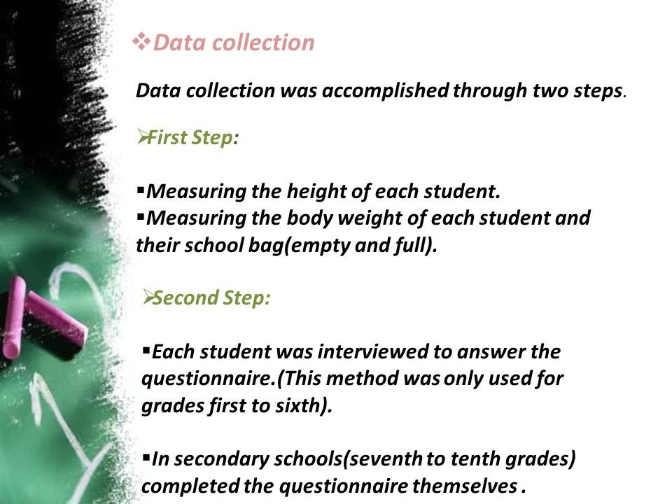  Data collection Data collection was accomplished through two steps.  First Step:  Measuring the height of each student.  Measuring the body weigh