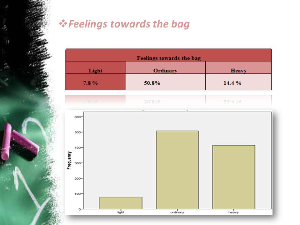  Feelings towards the bag