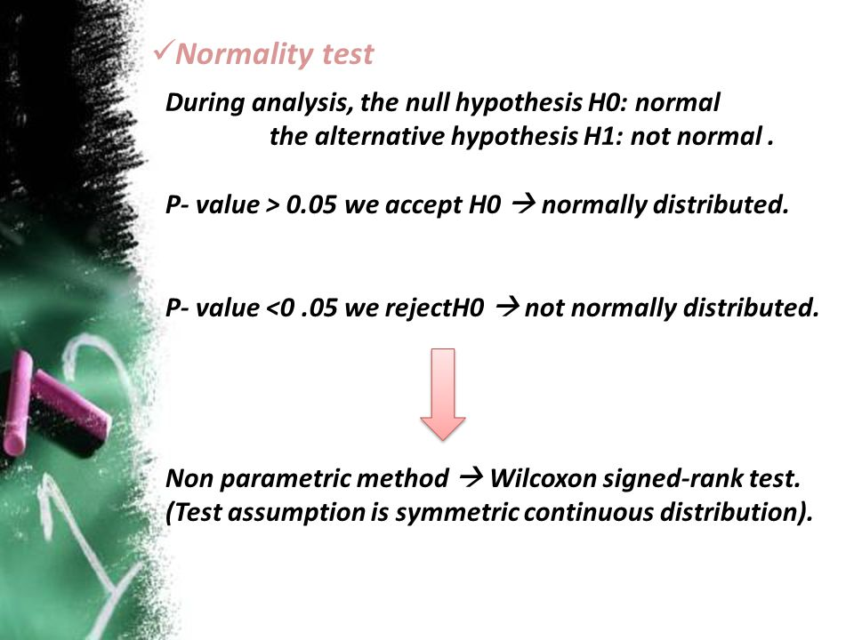 Normality test During analysis, the null hypothesis H0: normal the alternative hypothesis H1: not normal. P- value > 0.05 we accept H0  normally dist