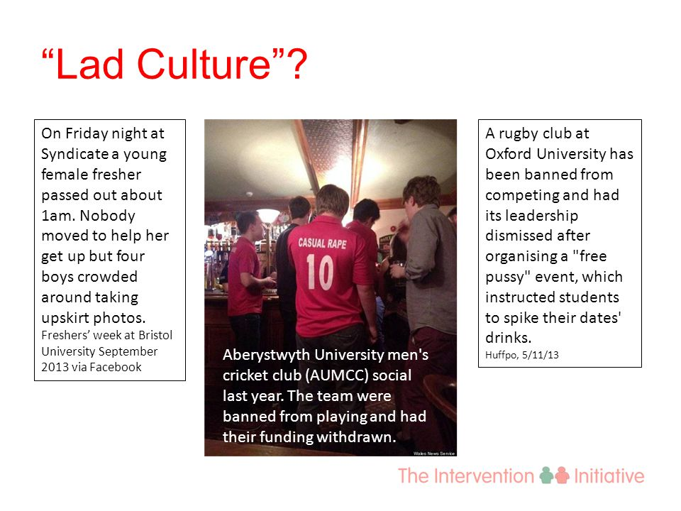 Lad Culture . Aberystwyth University men s cricket club (AUMCC) social last year.