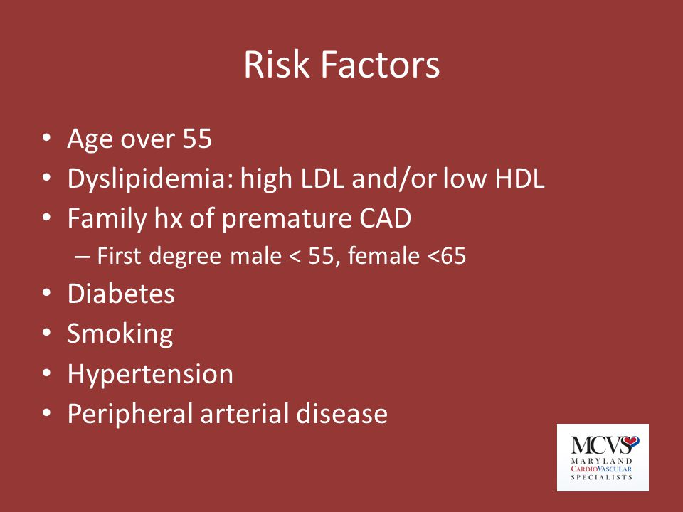 Risk Factors Age over 55 Dyslipidemia: high LDL and/or low HDL Family hx of premature CAD – First degree male < 55, female <65 Diabetes Smoking Hypert