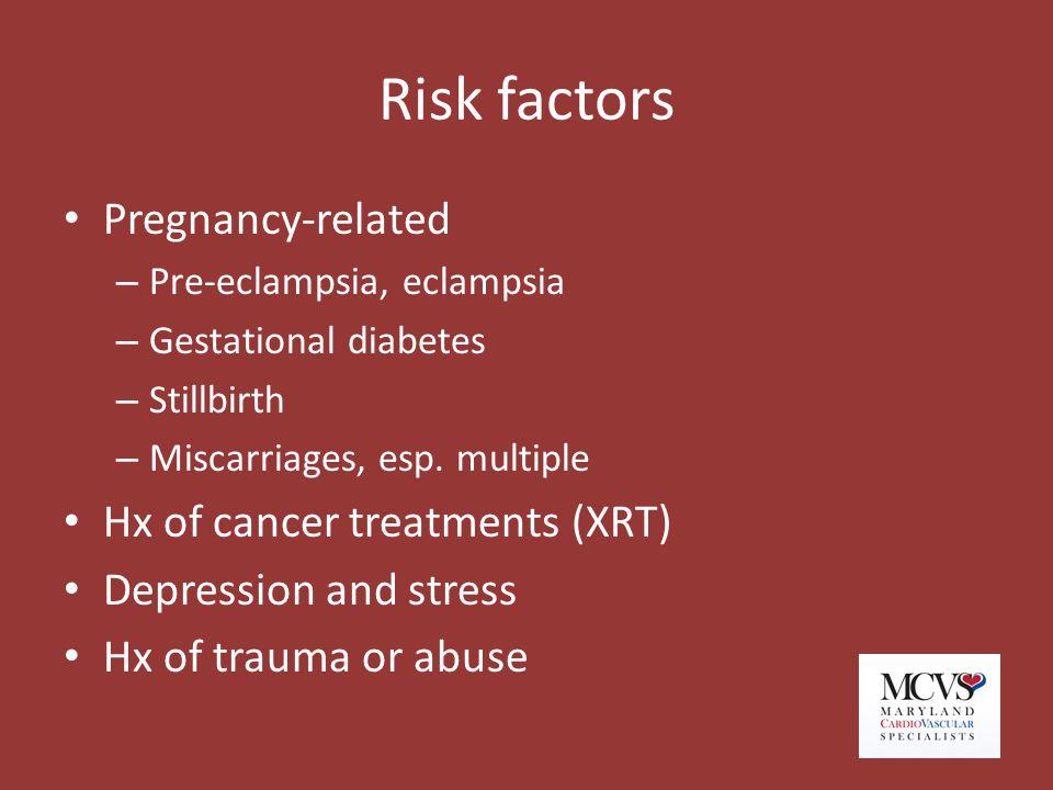 Risk factors Pregnancy-related – Pre-eclampsia, eclampsia – Gestational diabetes – Stillbirth – Miscarriages, esp. multiple Hx of cancer treatments (X