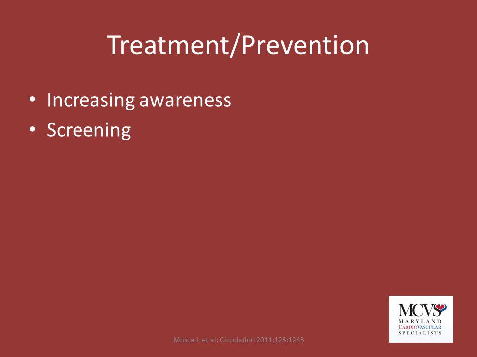 Treatment/Prevention Increasing awareness Screening Mosca L et al; Circulation 2011;123:1243