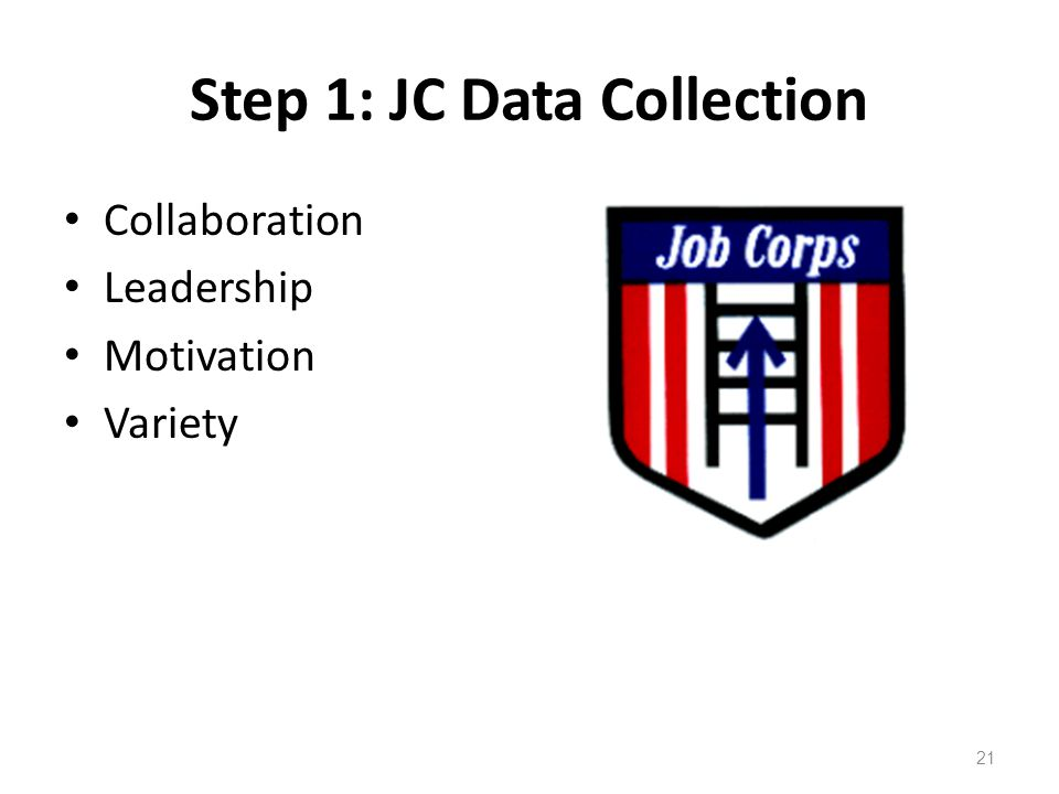 Step 1: JC Data Collection Collaboration Leadership Motivation Variety 21