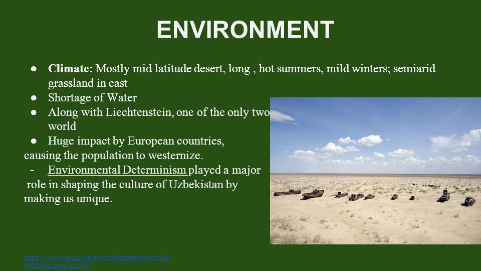 ENVIRONMENT ● Climate: Mostly mid latitude desert, long, hot summers, mild winters; semiarid grassland in east ● Shortage of Water ● Along with Liecht
