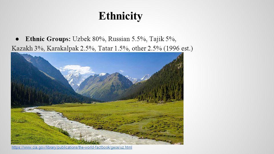 Ethnicity ● Ethnic Groups: Uzbek 80%, Russian 5.5%, Tajik 5%, Kazakh 3%, Karakalpak 2.5%, Tatar 1.5%, other 2.5% (1996 est.) https://www.cia.gov/library/publications/the-world-factbook/geos/uz.html