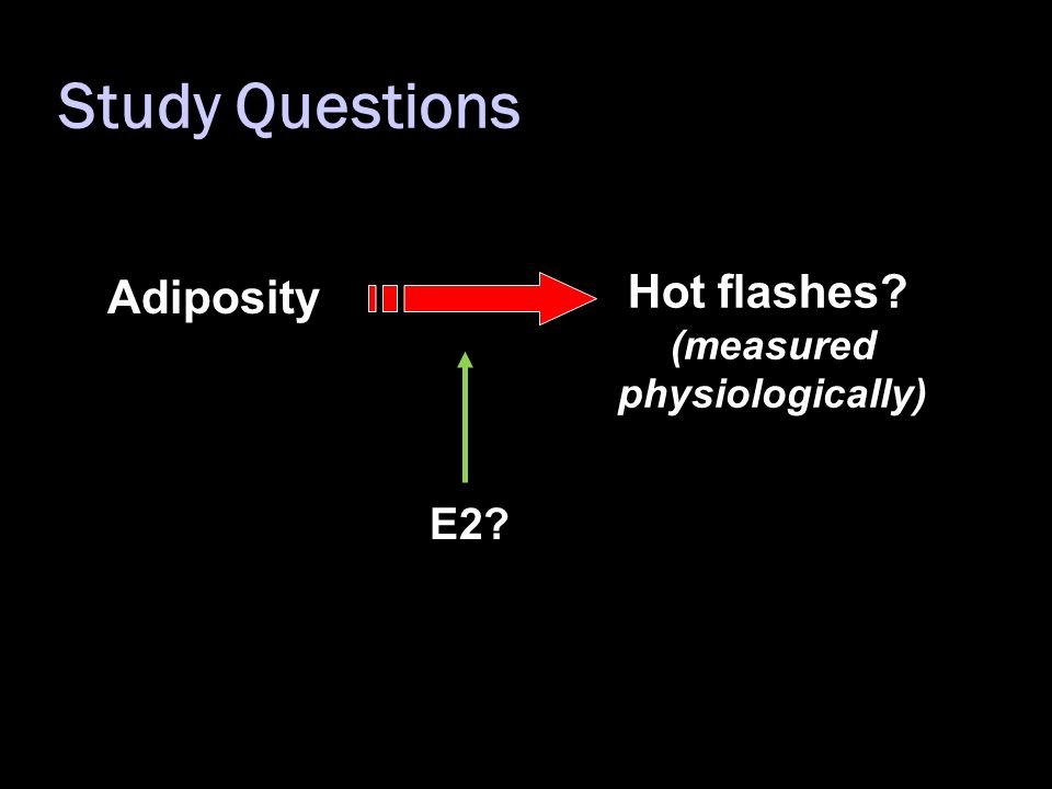 Study Questions Adiposity Hot flashes? (measured physiologically) E2?