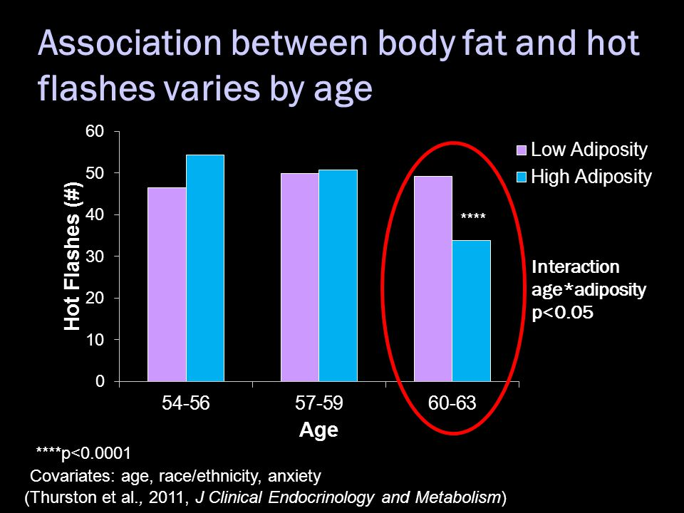 Association between body fat and hot flashes varies by age **** ****p<0.0001 Covariates: age, race/ethnicity, anxiety (Thurston et al., 2011, J Clinical Endocrinology and Metabolism)