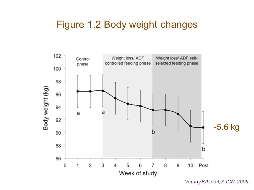 Figure 1.2 Body weight changes Varady KA et al, AJCN. 2009. -5.6 kg