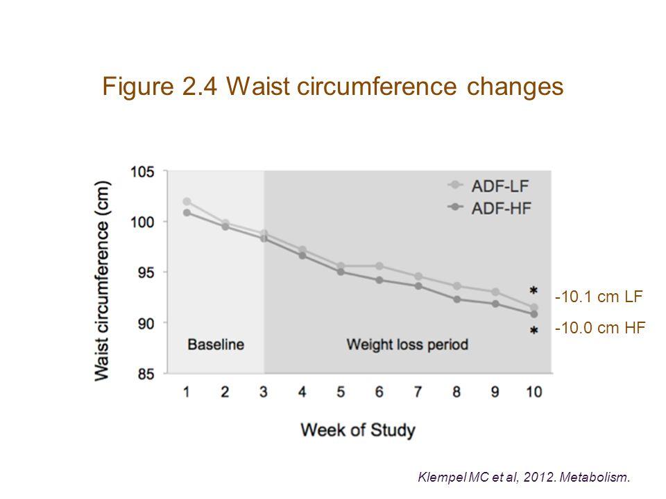 Figure 2.4 Waist circumference changes -10.1 cm LF -10.0 cm HF Klempel MC et al, 2012. Metabolism.