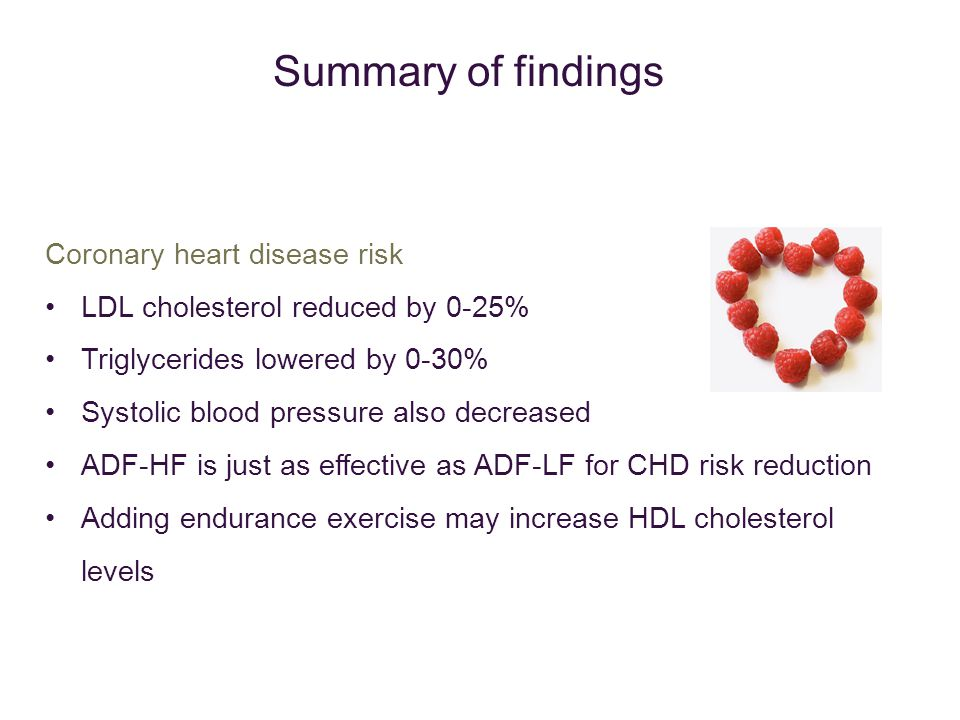 Coronary heart disease risk LDL cholesterol reduced by 0-25% Triglycerides lowered by 0-30% Systolic blood pressure also decreased ADF-HF is just as effective as ADF-LF for CHD risk reduction Adding endurance exercise may increase HDL cholesterol levels Summary of findings