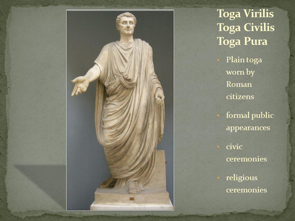 Plain toga worn by Roman citizens formal public appearances civic ceremonies religious ceremonies