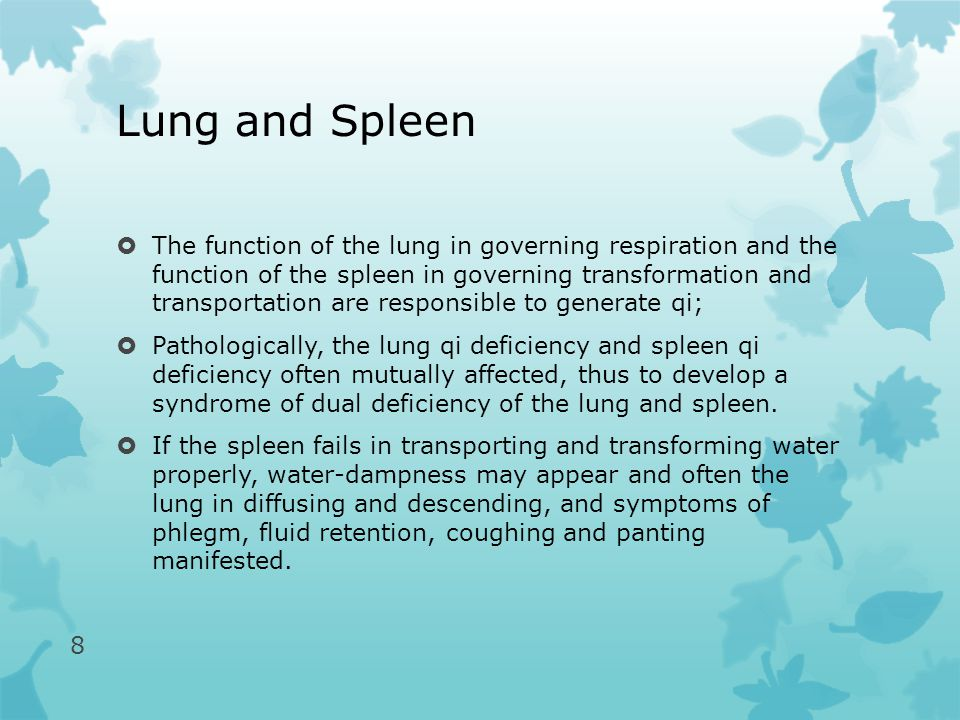 Lung and Spleen  The function of the lung in governing respiration and the function of the spleen in governing transformation and transportation are responsible to generate qi;  Pathologically, the lung qi deficiency and spleen qi deficiency often mutually affected, thus to develop a syndrome of dual deficiency of the lung and spleen.