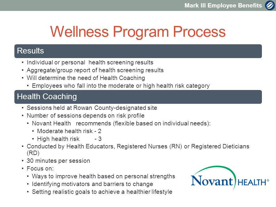 Mark III Employee Benefits Wellness Program Process Results Individual or personal health screening results Aggregate/group report of health screening results Will determine the need of Health Coaching Employees who fall into the moderate or high health risk category Health Coaching Sessions held at Rowan County-designated site Number of sessions depends on risk profile Novant Health recommends (flexible based on individual needs): Moderate health risk - 2 High health risk - 3 Conducted by Health Educators, Registered Nurses (RN) or Registered Dieticians (RD) 30 minutes per session Focus on: Ways to improve health based on personal strengths Identifying motivators and barriers to change Setting realistic goals to achieve a healthier lifestyle