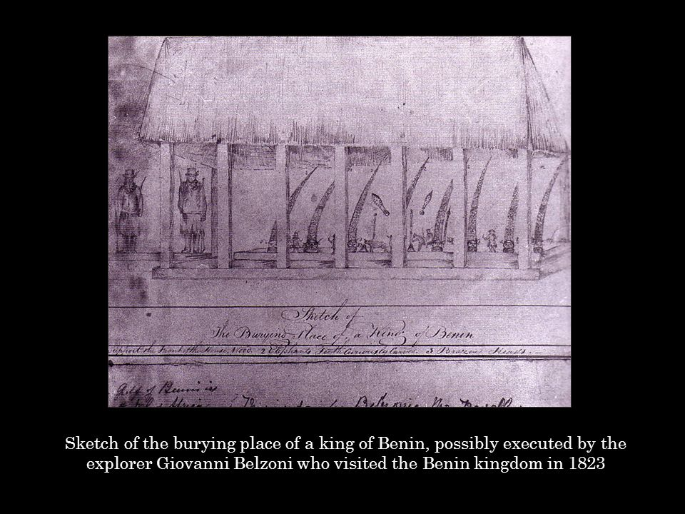 Sketch of the burying place of a king of Benin, possibly executed by the explorer Giovanni Belzoni who visited the Benin kingdom in 1823