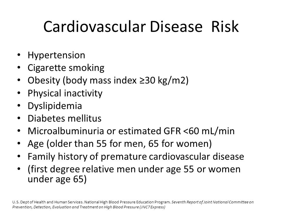 Cardiovascular Disease Risk Hypertension Cigarette smoking Obesity (body mass index ≥30 kg/m2) Physical inactivity Dyslipidemia Diabetes mellitus Microalbuminuria or estimated GFR <60 mL/min Age (older than 55 for men, 65 for women) Family history of premature cardiovascular disease (first degree relative men under age 55 or women under age 65) U.S.