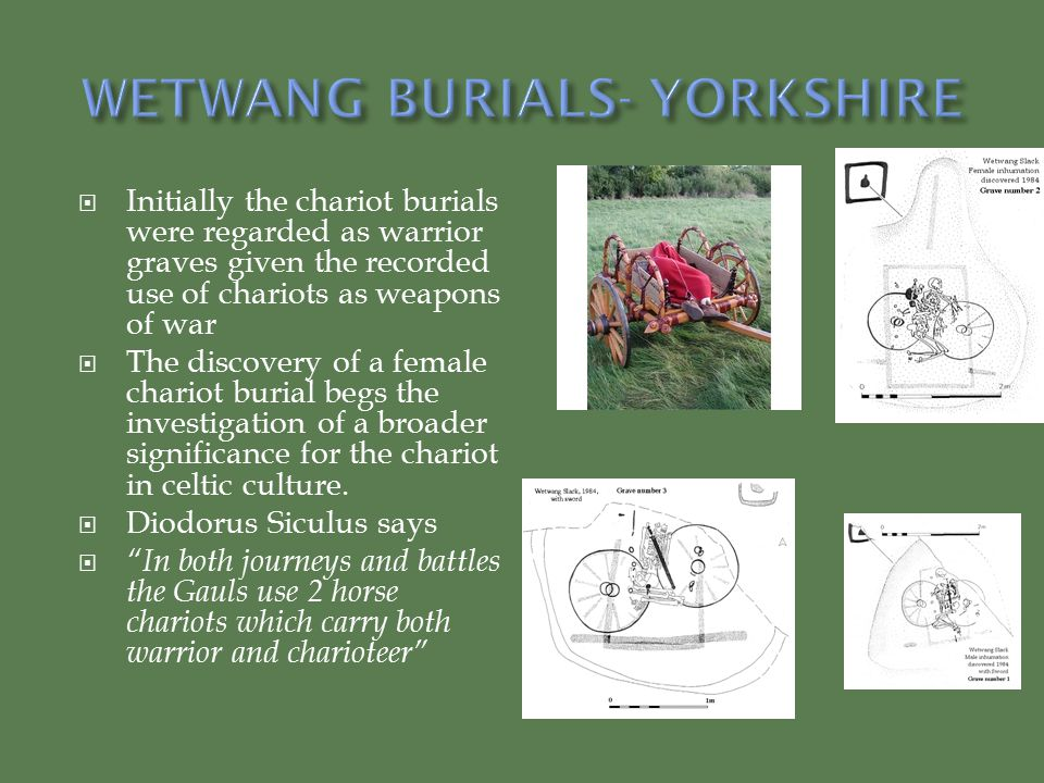  Initially the chariot burials were regarded as warrior graves given the recorded use of chariots as weapons of war  The discovery of a female chariot burial begs the investigation of a broader significance for the chariot in celtic culture.