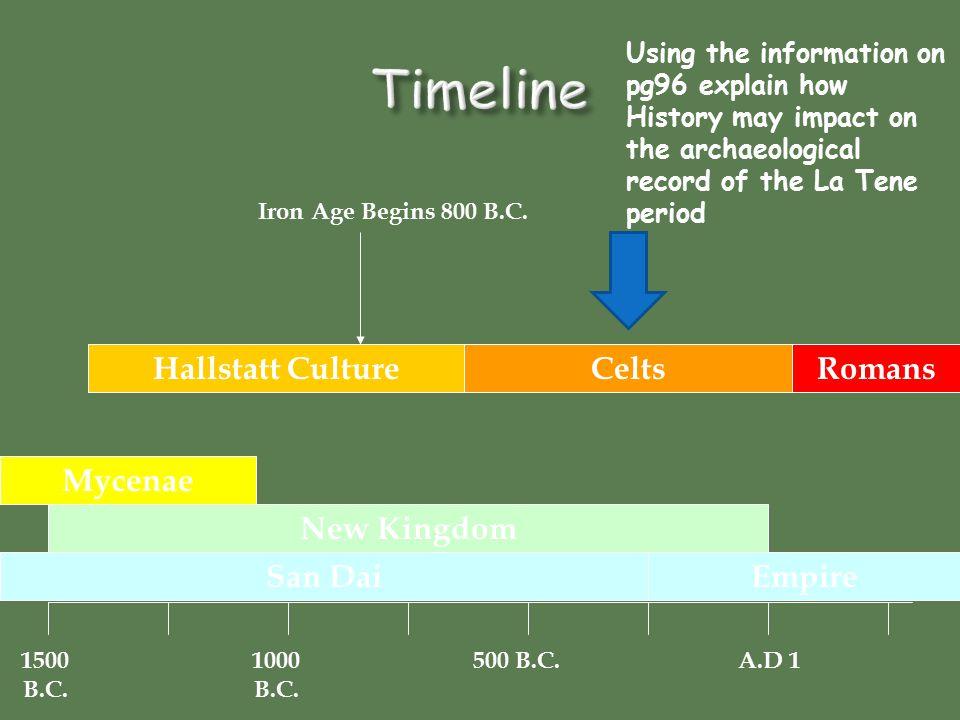 1500 B.C. 1000 B.C. 500 B.C.A.D 1 San Dai Mycenae New Kingdom Celts Empire Hallstatt CultureRomans Iron Age Begins 800 B.C. Using the information on p