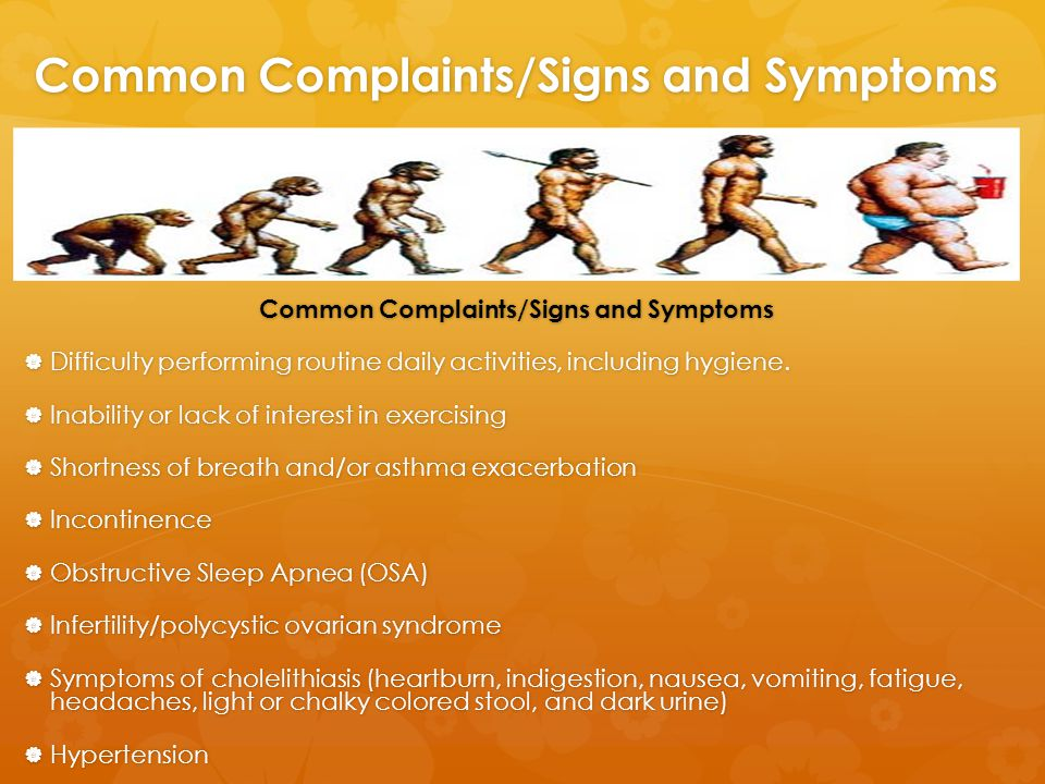 Common Complaints/Signs and Symptoms  Difficulty performing routine daily activities, including hygiene.