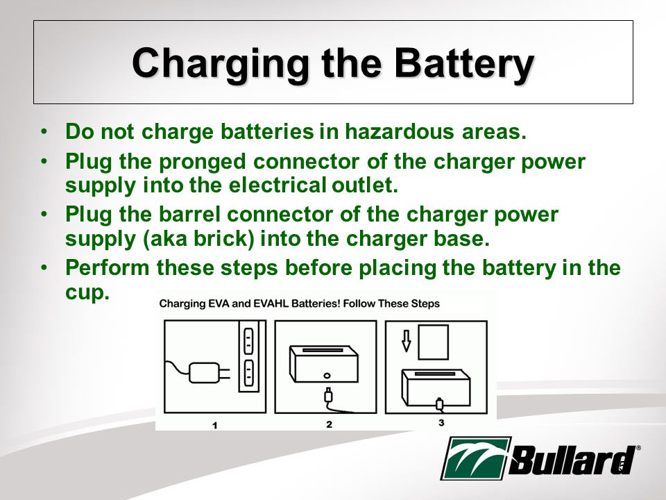15 Charging the Battery Do not charge batteries in hazardous areas.