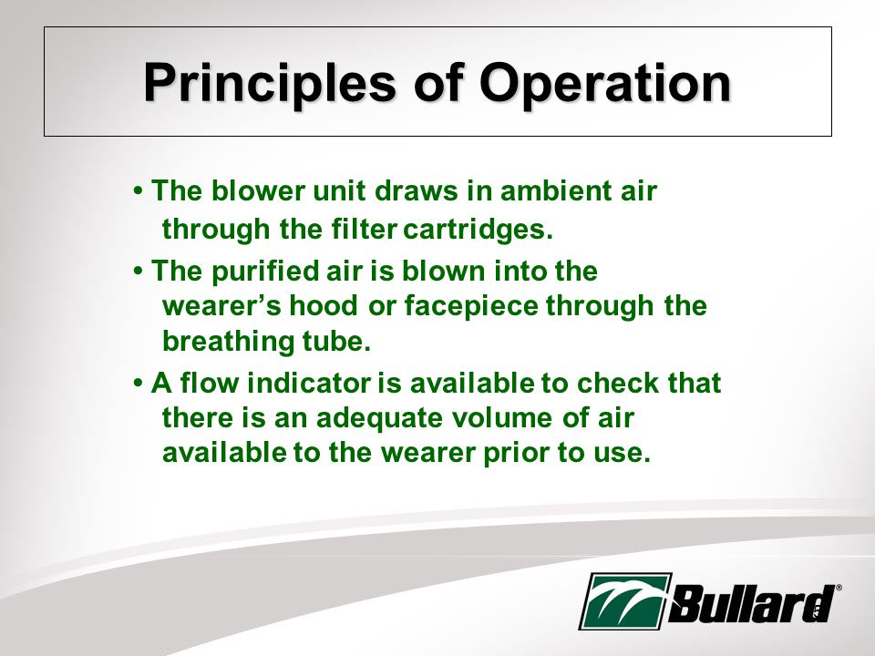 35 Principles of Operation The blower unit draws in ambient air through the filter cartridges.
