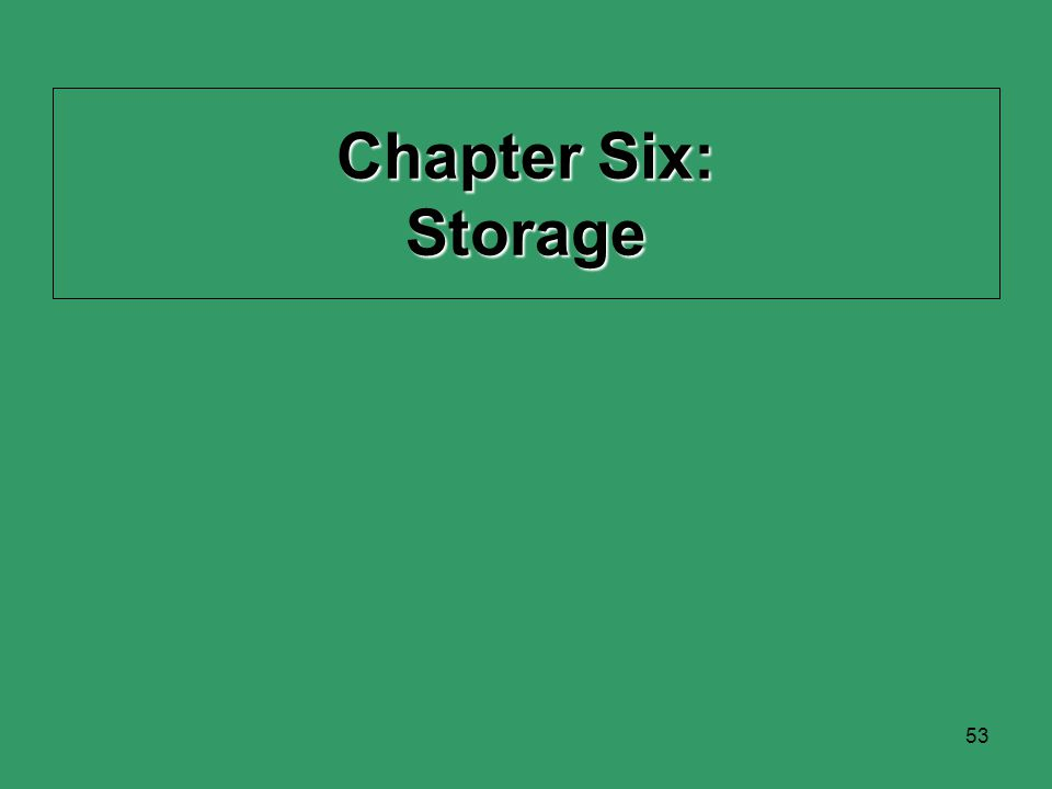 53 Chapter Six: Storage
