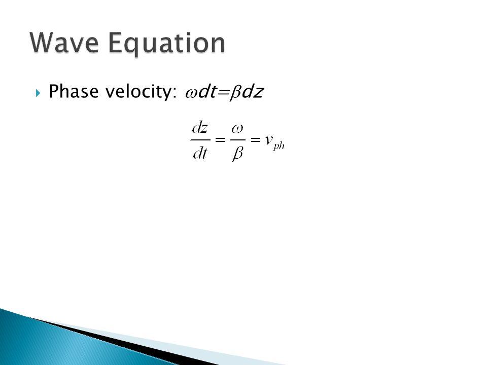  Phase velocity:  dt=  dz