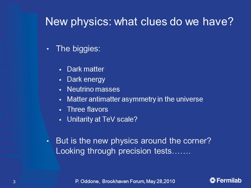 New physics: what clues do we have? The biggies:  Dark matter  Dark energy  Neutrino masses  Matter antimatter asymmetry in the universe  Three f
