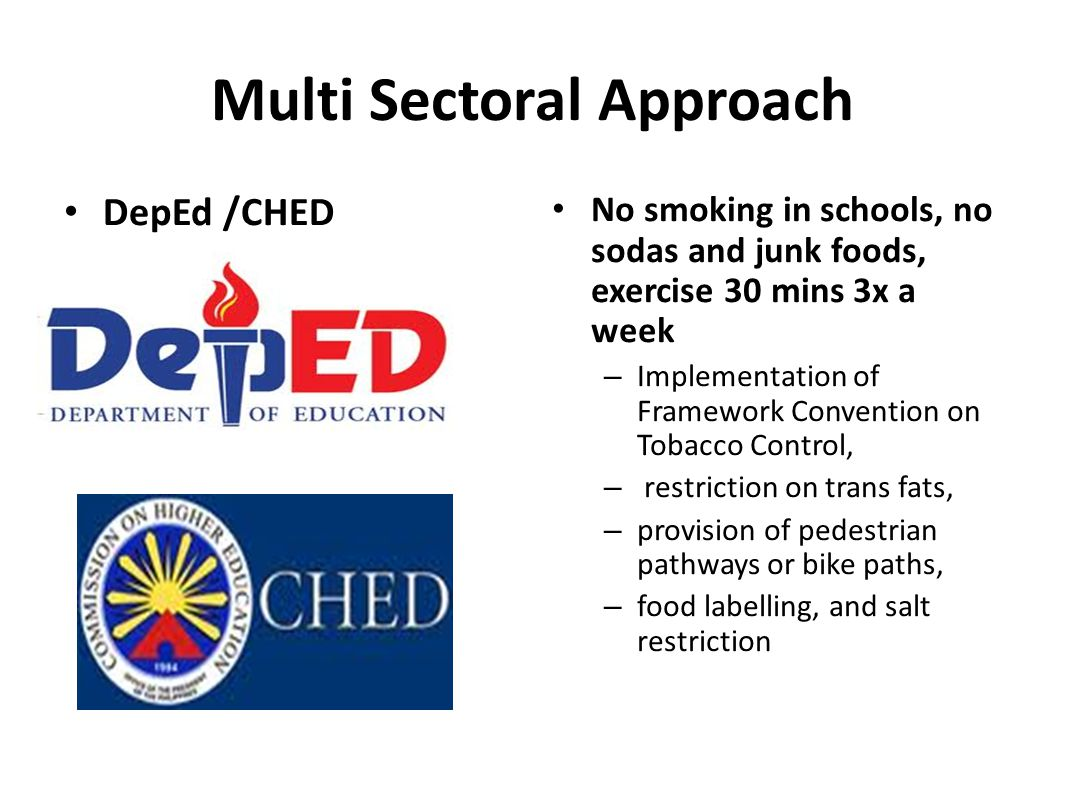 Multi Sectoral Approach DepEd /CHED ) No smoking in schools, no sodas and junk foods, exercise 30 mins 3x a week – Implementation of Framework Convention on Tobacco Control, – restriction on trans fats, – provision of pedestrian pathways or bike paths, – food labelling, and salt restriction