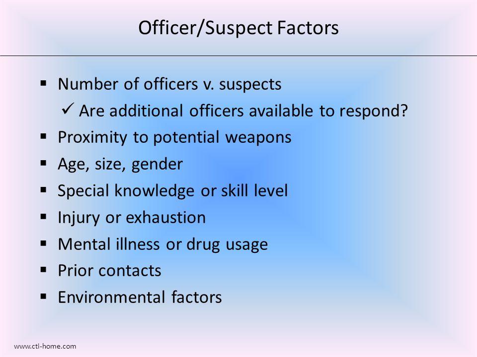 Officer/Suspect Factors  Number of officers v.