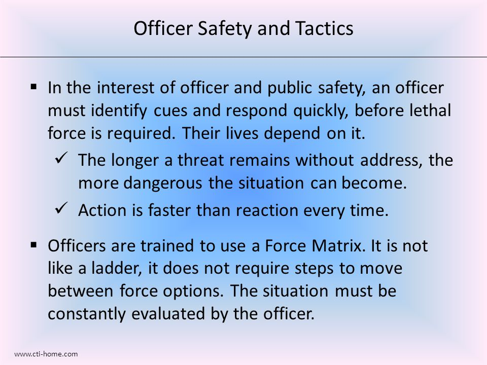  In the interest of officer and public safety, an officer must identify cues and respond quickly, before lethal force is required.