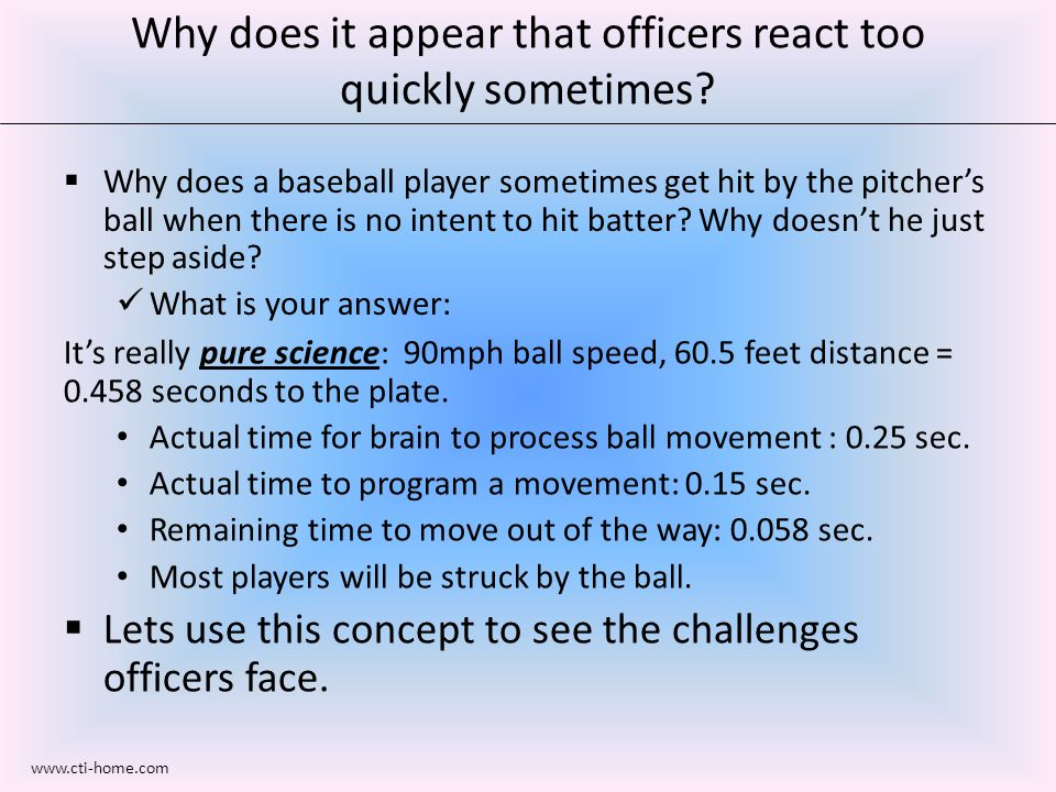  Why does a baseball player sometimes get hit by the pitcher's ball when there is no intent to hit batter.