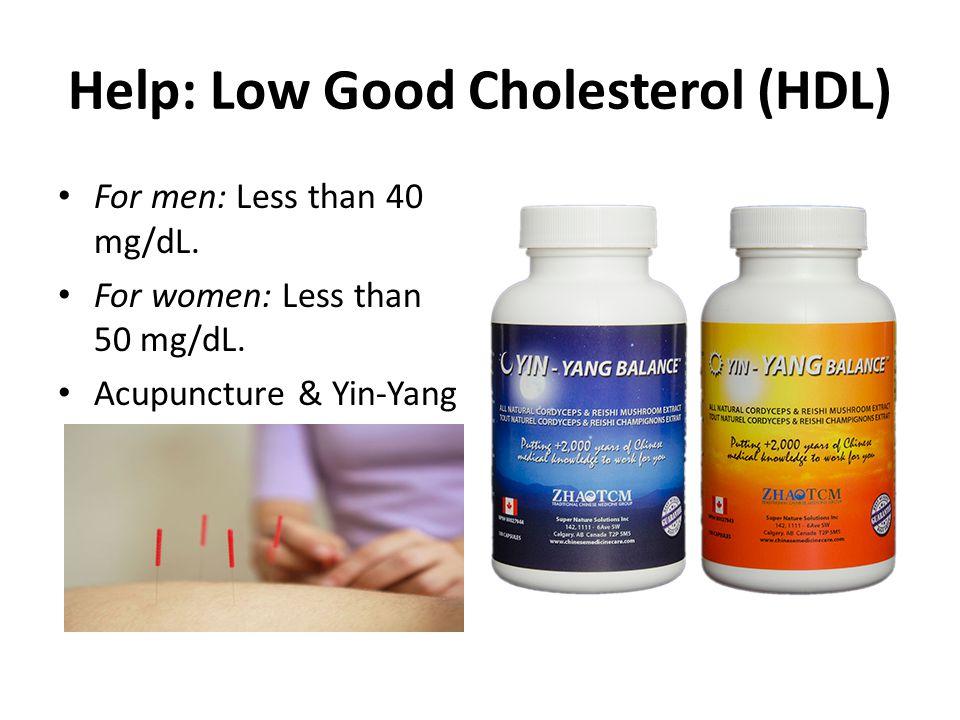 Help: Low Good Cholesterol (HDL) For men: Less than 40 mg/dL. For women: Less than 50 mg/dL. Acupuncture & Yin-Yang