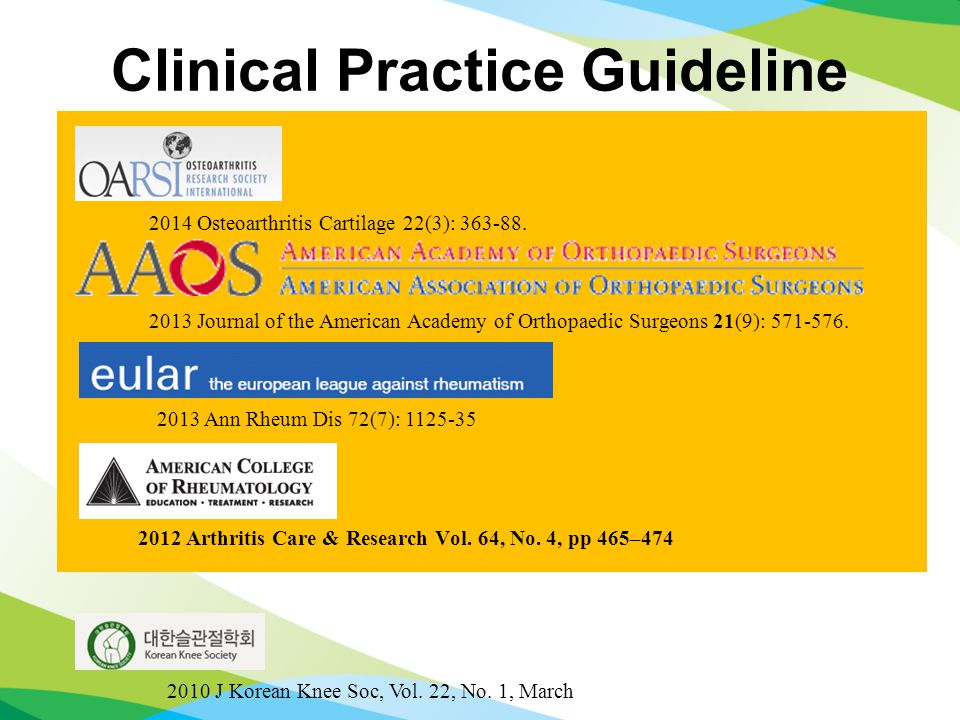 Clinical Practice Guideline 2012 Arthritis Care & Research Vol.