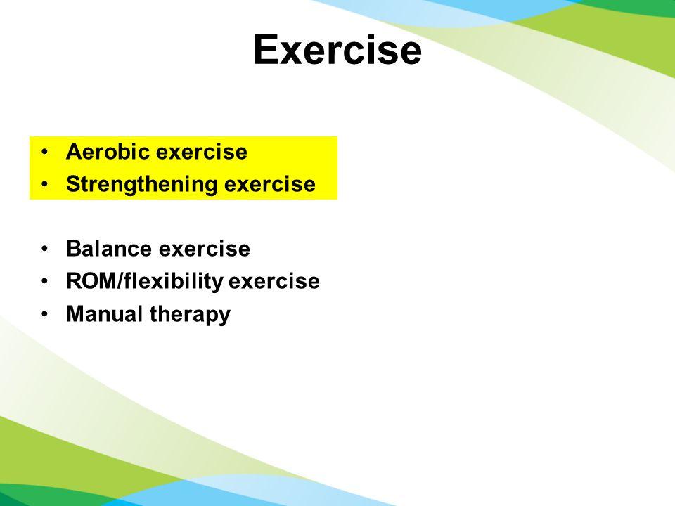 Exercise Aerobic exercise Strengthening exercise Balance exercise ROM/flexibility exercise Manual therapy