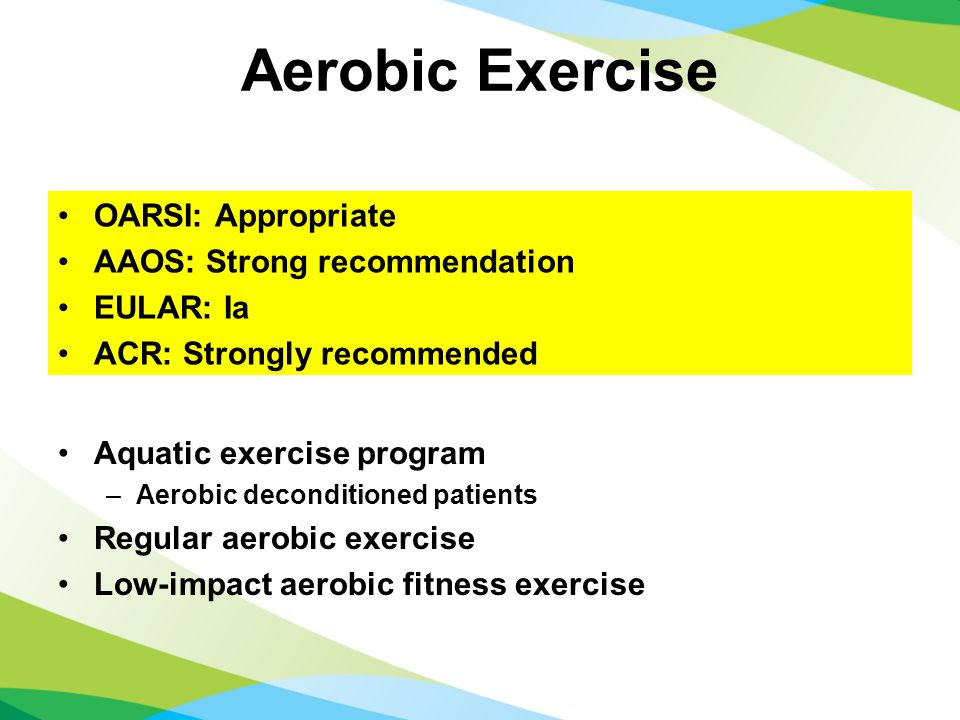 Aerobic Exercise Aquatic exercise program –Aerobic deconditioned patients Regular aerobic exercise Low-impact aerobic fitness exercise OARSI: Appropriate AAOS: Strong recommendation EULAR: Ia ACR: Strongly recommended