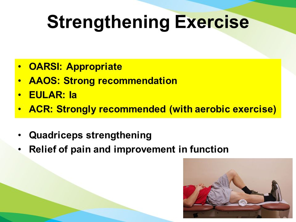 Strengthening Exercise Quadriceps strengthening Relief of pain and improvement in function OARSI: Appropriate AAOS: Strong recommendation EULAR: Ia ACR: Strongly recommended (with aerobic exercise)